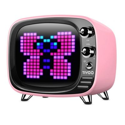 Enceinte TV  Bluetooth rétro Tivoo pixel art rose